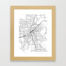 Huntsville Map, Alabama USA - Black & White Portrait Framed Art Print