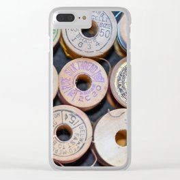Wooden Spools Clear iPhone Case