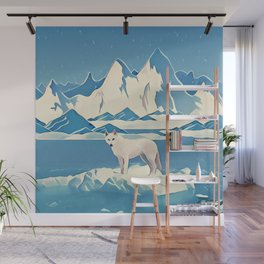 Wolf and the blue mountain Wall Mural