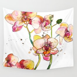 Pink Orchids Wall Tapestry
