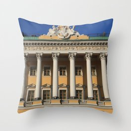 Saint-Petersburg Architecture. Building Facade with pillars. Throw Pillow