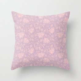 Skulls and flowers in soft pink and lilac Throw Pillow