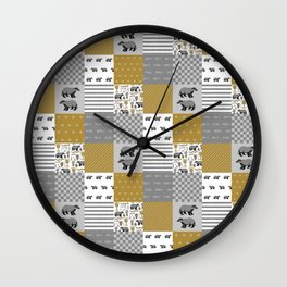 Badger House cheater quilt patchwork wizarding witches and wizards Wall Clock