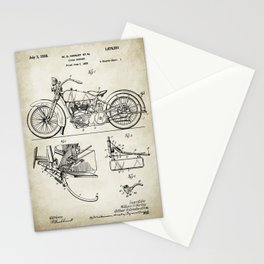Motorcycle Patent Drawing Stationery Cards