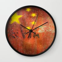 china Wall Clocks featuring China by Arken25