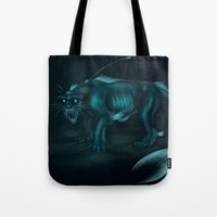 pocket fuel Tote Bags featuring Nightmare Fuel by Nairas Products