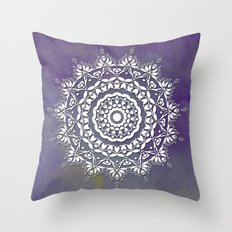 FLORAL WATERCOLOR VIOLET AND WHITE MANDALA  Throw Pillow