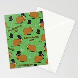 Groundhog day pattern Stationery Cards