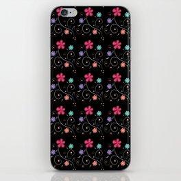 Flowers in black iPhone Skin