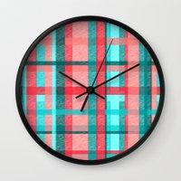 plaid Wall Clocks featuring Plaid by Nichole B.