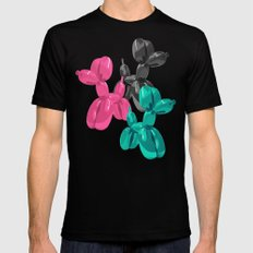 Balloon Dog Pattern Black Mens Fitted Tee 2X-LARGE