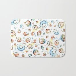 Elephants Pattern Watercolor Whimsical Animals Bath Mat