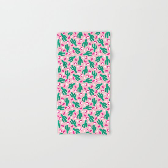Not So Much - cactus memphis triangle throwback retro 80s bright neon pattern Hand & Bath Towel