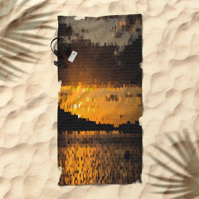Autumn Sunset Mosaic #decor #society6 Beach Towel