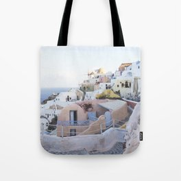 White Village at Sunset in Santorini, Greece Tote Bag