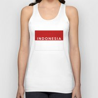 indonesia Tank Tops featuring indonesia country flag name text by tony tudor