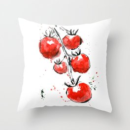 Bright juicy tomatoes. Watercolor picture of vegetables. Throw Pillow