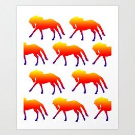 Sunset Horses Art Print