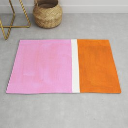 Pastel Neon Pink Yellow Ochre Mid Century Modern Abstract Minimalist Rothko Color Field Squares Rug
