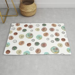 Whimsical Happy Suns Watercolor Pattern Rug