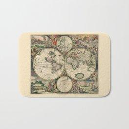 Ancient Map of the World 1689 Bath Mat