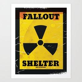 Old Fallout Shelter vintage warning poster. Art Print
