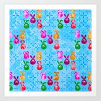 Easter Celebration in Batik Style, Bunny Egg Pattern Art Print
