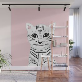 Baby Cat on Blush #1 (Kids Collection) #animal #decor #art #society6 Wall Mural