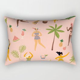 Beach Girls Dancing Rectangular Pillow