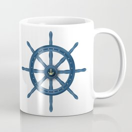 Ship Wheel Blue Rudder Coffee Mug
