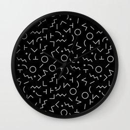 Memphis Jumble ((white on black)) Wall Clock