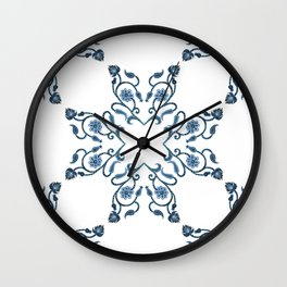 Blue Floral Heart Tile Wall Clock