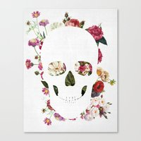 Canvas Prints featuring Skull Grunge Flower 2 by Francisco Valle