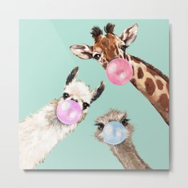 Bubble Gum Gang in Green Metal Print