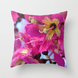 Beautiful Pink Floss Silk Tree Flowers by Reay of Light Photography Throw Pillow