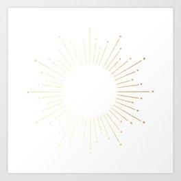 Sunburst Gold Copper Bronze on White Art Print