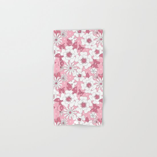 Delicate pink floral pattern. Hand & Bath Towel