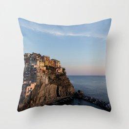 Manarola,Italy at Sunset Throw Pillow