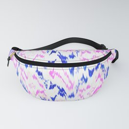 Girly pink blue trendy ikat chevron pattern Fanny Pack
