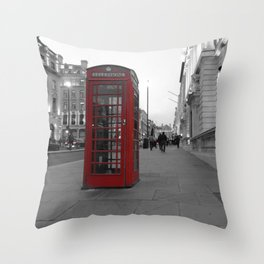 Red Phone Box Throw Pillow