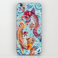 koi fish iPhone & iPod Skins featuring Koi Fish by Art by Risa Oram