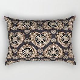 Black and Rose-Gold Valentine Mandala Heart Textile Rectangular Pillow