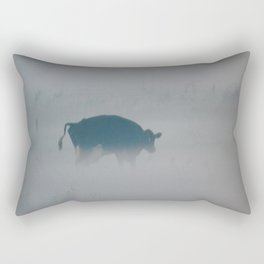 A cow in the fog in the meadows in the Netherlands Rectangular Pillow