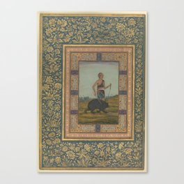 Dervish Leading a Bear  Folio from the Shah Jahan Album recto  early 19th century; verso  later copy Canvas Print