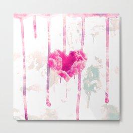 Bleed | Modern Pink Cloud Love Heart Pink Watercolor Drips Metal Print
