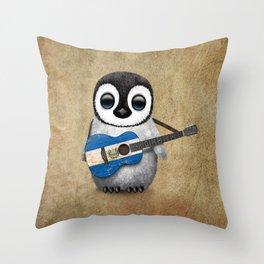 Baby Penguin Playing Salvadorian Flag Acoustic Guitar Throw Pillow