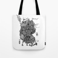 library Tote Bags featuring the wandering library 2 by vasodelirium