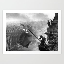 Raising a Flag over the Reichstag Art Print