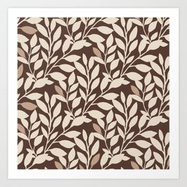 Leaves and Branches in Cream and Brown Art Print