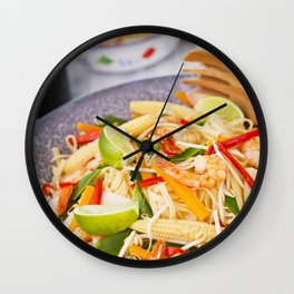 II - Healthy shrimp and vegetables stir-fry in a bowl, brightly lit Wall Clock